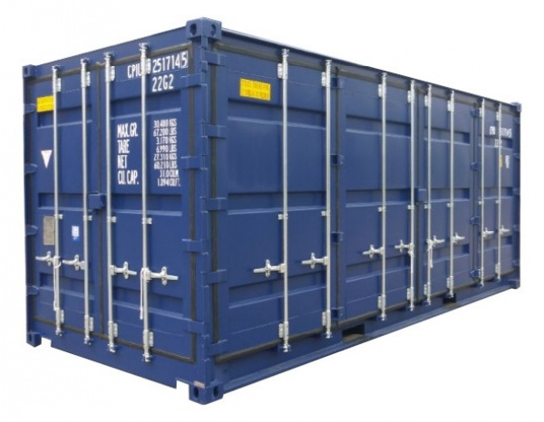 Opslagcontainer 20 ''HC  openside (+/- 14,70 m²)